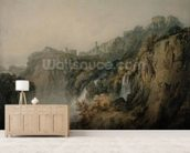 Tivoli with the Temple of the Sibyl and the Cascades, c.1796-97 (w/c over graphite on paper) wallpaper mural living room preview