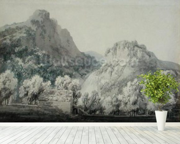 Waterfall at Lodore, Cumberland (grey & blue wash over graphite on paper) wall mural room setting