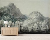 Waterfall at Lodore, Cumberland (grey & blue wash over graphite on paper) wall mural living room preview