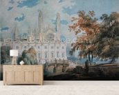 Clare Hall and the West End of Kings College Chapel, Cambridge, from the banks of the River Cam, 1793 (pencil & w/c on paper) wallpaper mural living room preview