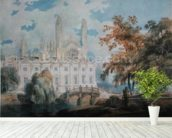 Clare Hall and the West End of Kings College Chapel, Cambridge, from the banks of the River Cam, 1793 (pencil & w/c on paper) wallpaper mural in-room view