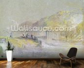 Foul by God: River Landscape with Anglers Fishing from a Weir, c.1830 (w/c & bodycolour with pencil & chalk on paper) wallpaper mural kitchen preview