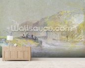 Foul by God: River Landscape with Anglers Fishing from a Weir, c.1830 (w/c & bodycolour with pencil & chalk on paper) wallpaper mural living room preview