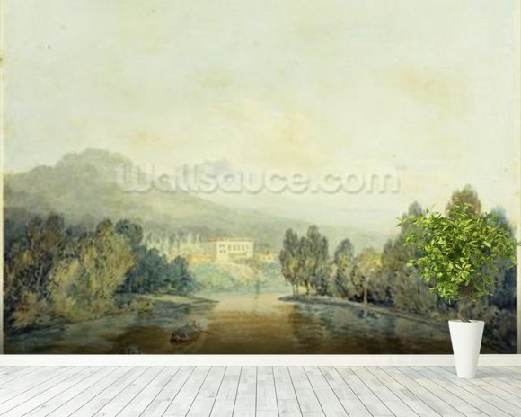 Villa Salviati on the Arno, c.1796-97 (w/c on pencil on paper laid on mount) mural wallpaper room setting