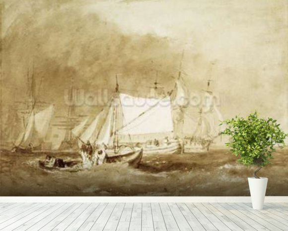 Shipping Scene, with Fishermen, c.1815-20 (brush & brown ink on paper) wallpaper mural room setting