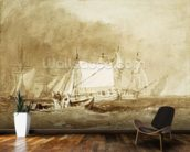 Shipping Scene, with Fishermen, c.1815-20 (brush & brown ink on paper) wallpaper mural kitchen preview