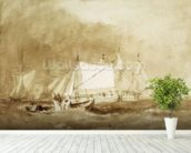 Shipping Scene, with Fishermen, c.1815-20 (brush & brown ink on paper) wallpaper mural in-room view