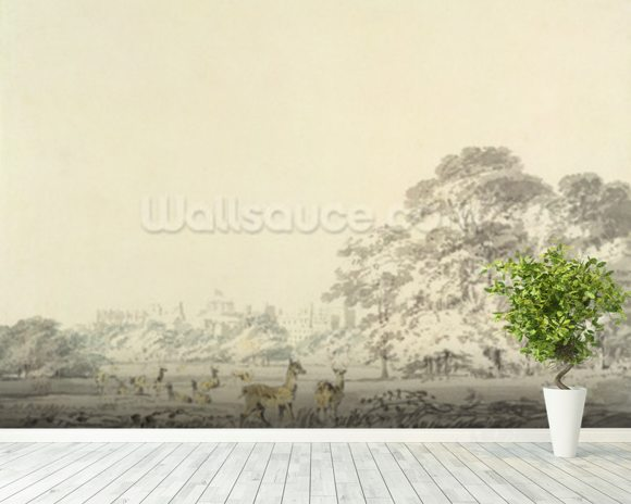 Windsor Castle and Park with Deer (w/c over pencil on paper) mural wallpaper room setting