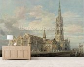 North-east View of Grantham Church, Lincolnshire, c.1797 (w/c over graphite on paper) mural wallpaper living room preview