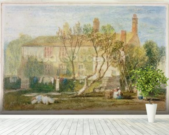 Steeton Manor House, near Farnley, c.1815-18 (w/c on paper) mural wallpaper room setting