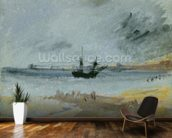 Ship Aground, Brighton, 1830 (black ink, w/c & bodycolour on paper) wallpaper mural kitchen preview