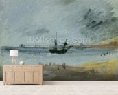 Ship Aground, Brighton, 1830 (black ink, w/c & bodycolour on paper) wallpaper mural living room preview