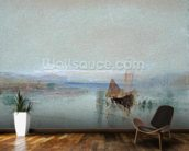 Fishing Boats Becalmed off Le Havre (w/c & bodycolour on blue paper) mural wallpaper kitchen preview