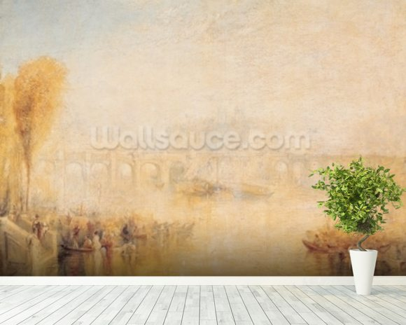 View of the Pont Neuf, Paris (oil on canvas) mural wallpaper room setting