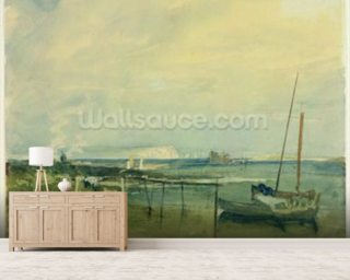 Coast Scene with White Cliffs and Boats on Shore (w/c & graphite on paper) mural wallpaper