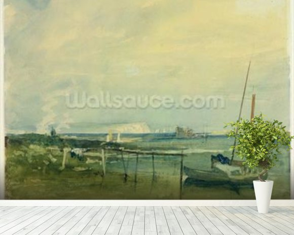Coast Scene with White Cliffs and Boats on Shore (w/c & graphite on paper) mural wallpaper room setting
