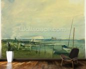 Coast Scene with White Cliffs and Boats on Shore (w/c & graphite on paper) mural wallpaper kitchen preview