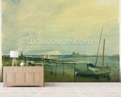 Coast Scene with White Cliffs and Boats on Shore (w/c & graphite on paper) mural wallpaper living room preview