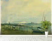 Coast Scene with White Cliffs and Boats on Shore (w/c & graphite on paper) mural wallpaper in-room view