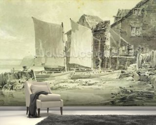 Fishermans Cottage, Dover, 1790s (pencil & grey wash on laid paper) mural wallpaper
