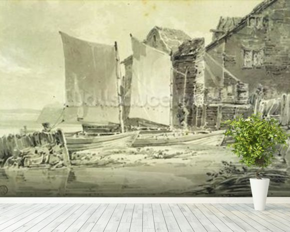 Fishermans Cottage, Dover, 1790s (pencil & grey wash on laid paper) mural wallpaper room setting