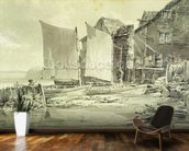 Fishermans Cottage, Dover, 1790s (pencil & grey wash on laid paper) mural wallpaper kitchen preview