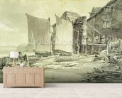 Fishermans Cottage, Dover, 1790s (pencil & grey wash on laid paper) mural wallpaper living room preview