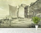 Fishermans Cottage, Dover, 1790s (pencil & grey wash on laid paper) mural wallpaper in-room view