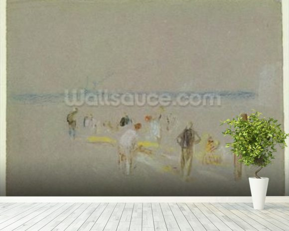 Cricket on the Goodwin Sands (chalk, w/c & bodycolour on paper) wall mural room setting
