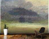 Evening Landscape with Castle and Bridge in Yorkshire, c.1798-99 (w/c on wove paper) wallpaper mural kitchen preview