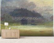 Evening Landscape with Castle and Bridge in Yorkshire, c.1798-99 (w/c on wove paper) wallpaper mural living room preview