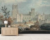 View of Ely Cathedral (pencil & w/c on paper) mural wallpaper living room preview