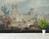 View of Ely Cathedral (pencil & w/c on paper) mural wallpaper in-room view