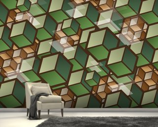 Woodland Cubes wallpaper mural