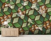 Woodland Cubes wallpaper mural living room preview