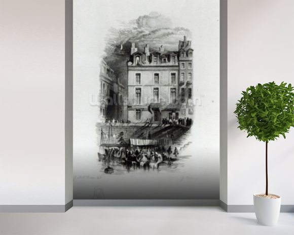 Napoleons Lodgings on the Quai Conti, 1834-36 (engraving) wall mural room setting