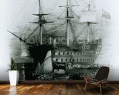 The Bellerophon at Plymouth Sound in 1815, 1834-36 (engraving) wallpaper mural kitchen preview