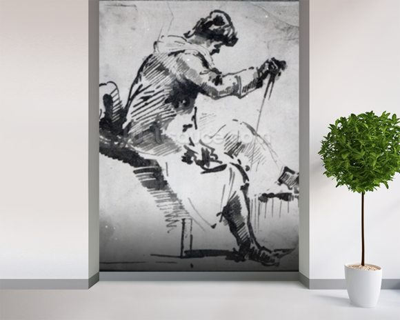 Seated man (w/c on paper) mural wallpaper room setting