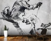 Seated man (w/c on paper) mural wallpaper kitchen preview