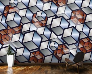 Metal Cubes wall mural