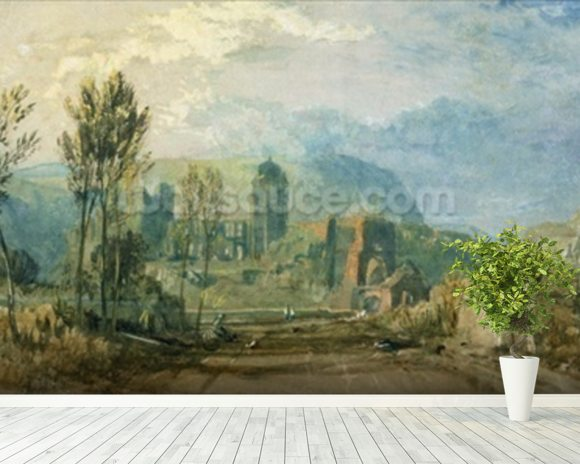 Tours, Sunset: Looking Backwards, c.1826-30 (gouache and w/c with pen & ink over graphite on paper) mural wallpaper room setting