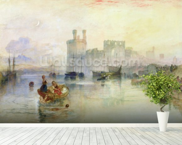 View of Carnarvon Castle (w/c on paper) wall mural room setting