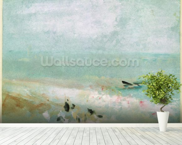 Beach with figures and a jetty. c.1830 (w/c & gouache) mural wallpaper room setting