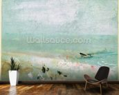Beach with figures and a jetty. c.1830 (w/c & gouache) mural wallpaper kitchen preview