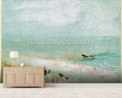 Beach with figures and a jetty. c.1830 (w/c & gouache) mural wallpaper living room preview