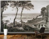 Plymouth Dock from Mount Edgecombe, from Cookes Picturesque Views of the Southern Coast of England engraved by William Bernard Cooke (1778-1855) 1814-26 (etching) wall mural kitchen preview