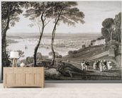 Plymouth Dock from Mount Edgecombe, from Cookes Picturesque Views of the Southern Coast of England engraved by William Bernard Cooke (1778-1855) 1814-26 (etching) wall mural living room preview