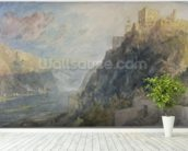 Rheinfels looking to Katz and Gourhausen, 1817 (w/c & gouache on paper) wallpaper mural in-room view