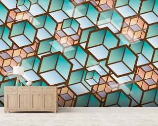 Muted Cubes Pattern Wallpaper Wall Murals