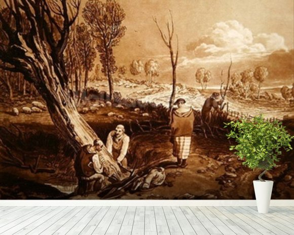 Hedging and Ditching, c.1860 (etching) wallpaper mural room setting